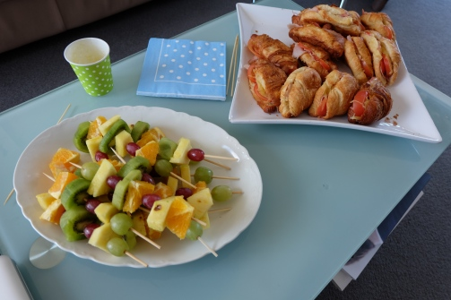 fruits sticks and croissants