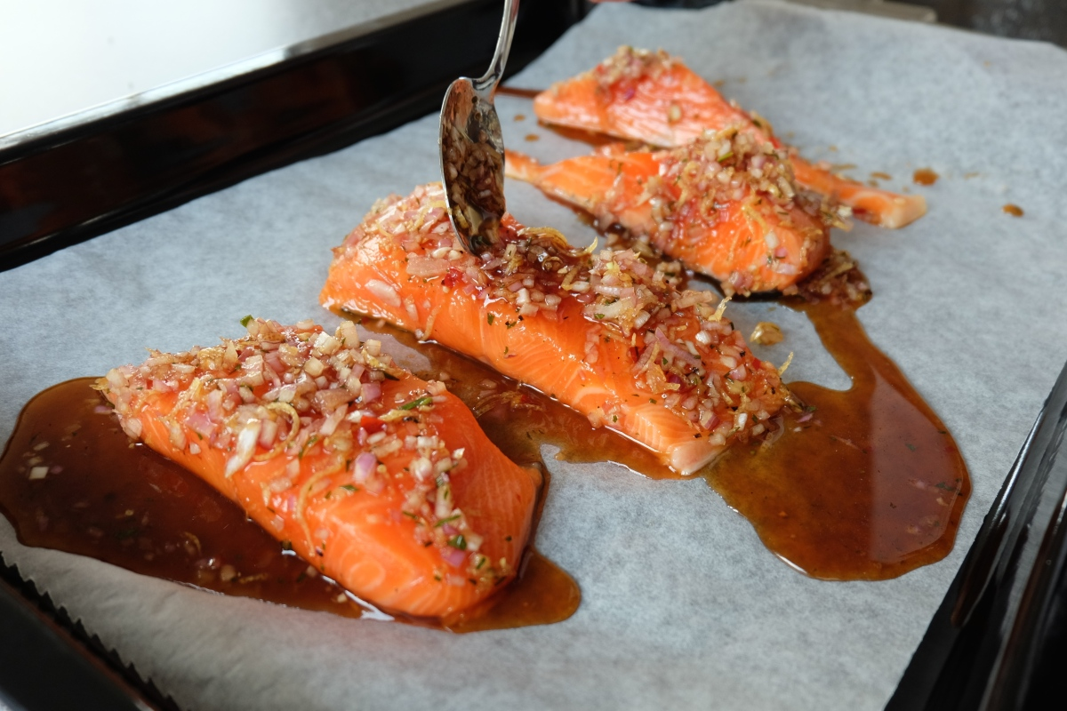 Roasted Sticky Chilli Salmon